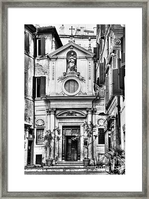 A Small Church In Rome Bw Framed Print