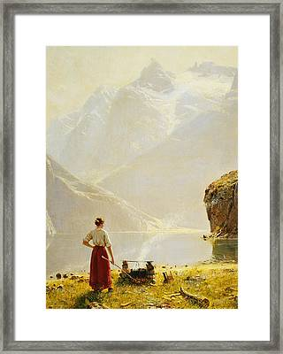 A Summer Day On A Norwegian Fjord Framed Print by Hans Dahl