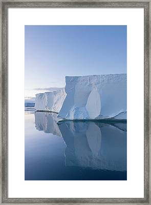 A Tabular Iceberg Under The Midnight Framed Print by Jeff Mauritzen