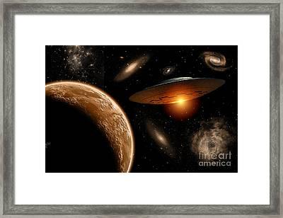 A Ufo On Its Journey Framed Print by Mark Stevenson