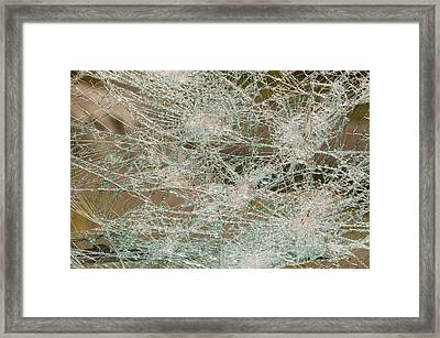 A Vehicle With A Smashed Windscreen Framed Print by Ashley Cooper
