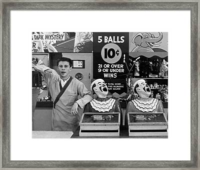 A Vendor At Playland In Sf Framed Print by Underwood Archives