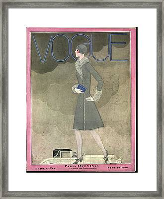 A Vintage Vogue Magazine Cover From 1928 Framed Print by Georges Lepape