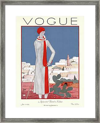 A Vintage Vogue Magazine Cover Of A Wealthy Woman Framed Print