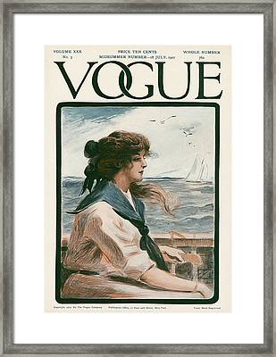 A Vintage Vogue Magazine Cover Of A Woman Framed Print by G. Howard Hilder