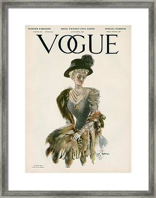 A Vintage Vogue Magazine Cover Of A Woman Framed Print by Stuart Travis