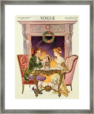 A Vogue Cover Of An 18th Century Couple Framed Print by Frank X. Leyendecker