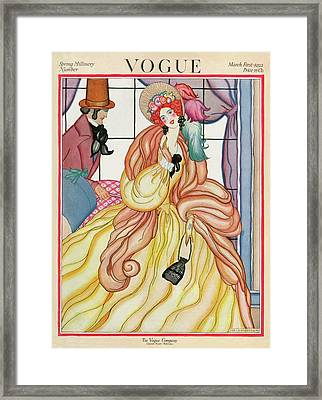 A Vogue Magazine Cover Of A Woman Framed Print by Helen Dryden