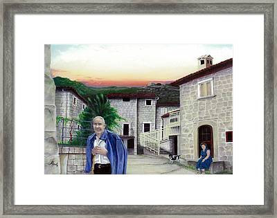Framed Print featuring the painting A Walk With Dante by Albert Puskaric