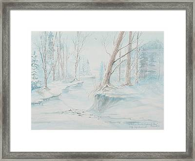 Framed Print featuring the painting A Winter Path by Cathy Long