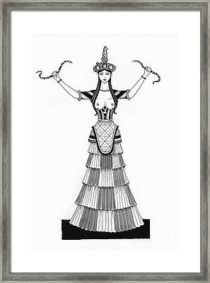 A Woman Modeling A Historical Costume Framed Print by Claire Avery