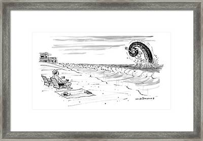 A Woman Swimming In The Ocean Is Trapped Framed Print by Nick Downes