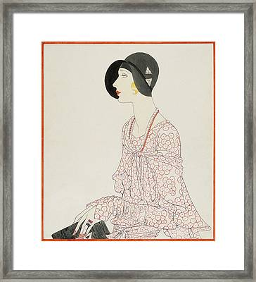 A Woman Wearing A Reboux Hat Framed Print