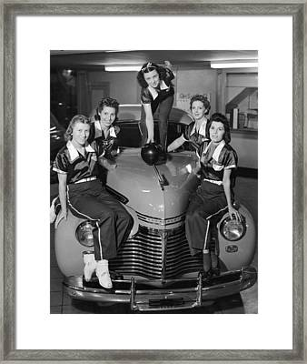 A Women's Bowling Team Framed Print