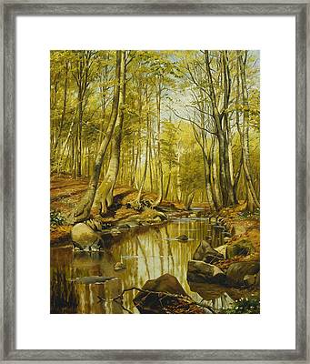 A Wooded River Landscape Framed Print by Peder Monsted