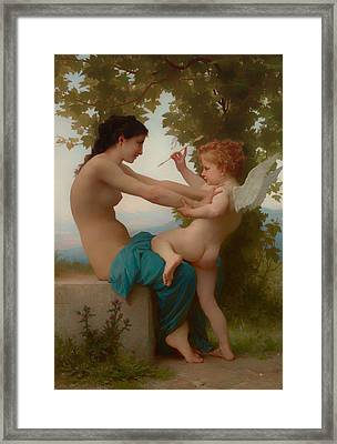 A Young Girl Defending Herself Against Eros Framed Print by William-Adolphe Bouguereau