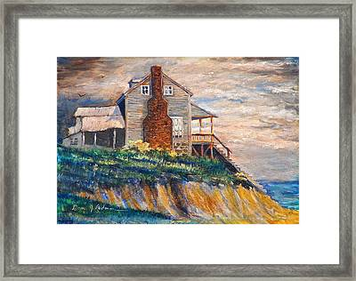 Framed Print featuring the painting Abandoned Beach House by Dan Redmon
