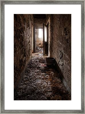 Abandoned Building - Hallway To Ladies Room Framed Print by Gary Heller