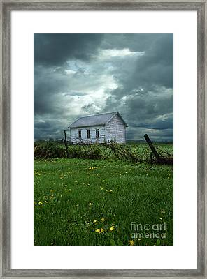 Abandoned Building In A Storm Framed Print by Jill Battaglia