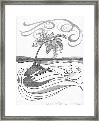 Abstract Art Tropical Black And White Drawing Who Am I To Disagree By Romi Framed Print by Megan Duncanson