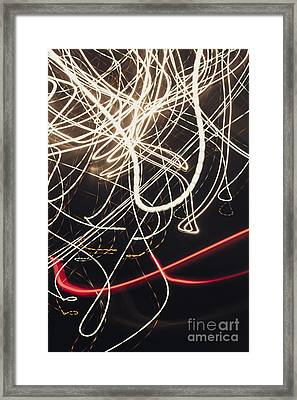 Abstract Light Trails In Speed And Motion On Black Framed Print by Jorgo Photography - Wall Art Gallery