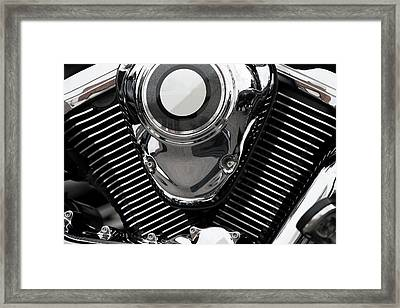 Abstract Motorcycle Engine Framed Print by Andrew Dernie