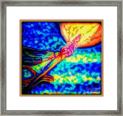 Abstract Of Dragonfly Flying Red Hot Moon Framed Print by Kimberlee Baxter