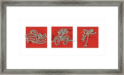 Abstract Red Triathlon Triptych Framed Print
