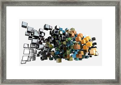 Abstract Shiny Cubes Framed Print by Allan Swart