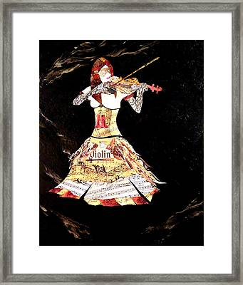 Steampunk Girl Abstract Painting Girl With Violin Fashion Collage Painting Framed Print