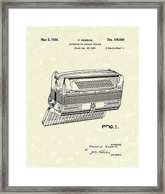 Accordion 1938 Patent Art Framed Print by Prior Art Design