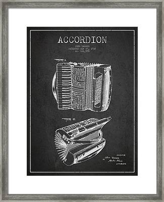 Accordion Patent Drawing From 1938 Framed Print