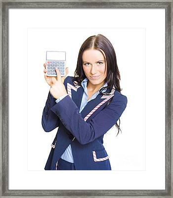 Accountant Pointing To Calculator With Copyspace Framed Print by Jorgo Photography - Wall Art Gallery
