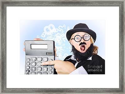Accountant Pointing To Massive Tax Return Saving Framed Print