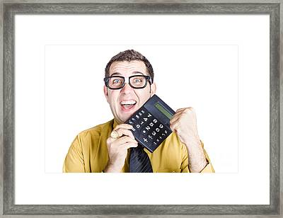 Accounting Man Winning With Calculator Framed Print by Jorgo Photography - Wall Art Gallery