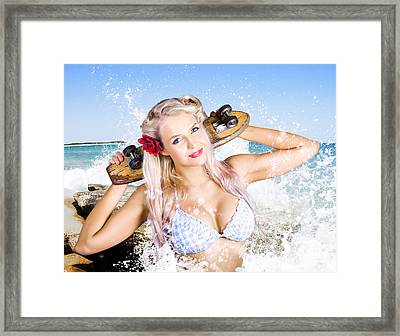 Active Sexy Summer Beach Babe With Skateboard Framed Print