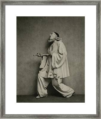 Actor Lionel Atwill In A Pierrot Costume Framed Print by Nicholas Muray