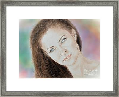 Actress And Model Susan Ward Blue Eyed Beauty With A Mole Framed Print