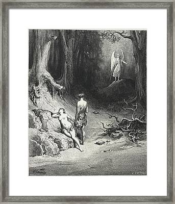 Adam And Eve In The Garden Of Eden Framed Print by British Library
