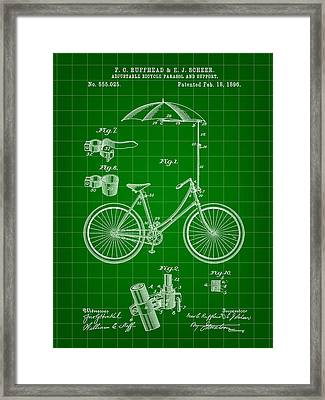 Adjustable Bike Patent 1896 - Green Framed Print by Stephen Younts