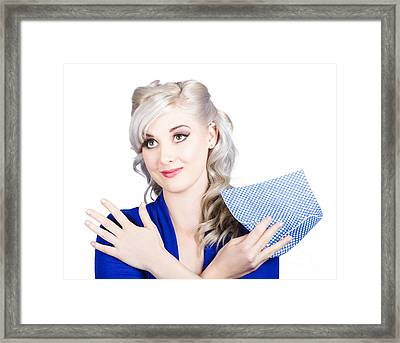 Adorable Female Pinup Cleaner Holding Dish Cloth Framed Print by Jorgo Photography - Wall Art Gallery
