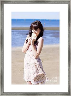Adorable Seaside Girl Framed Print