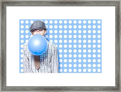 Adorable Vintage Child Inflating Birthday Balloon Framed Print by Jorgo Photography - Wall Art Gallery