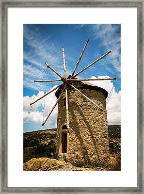 Aegean Windmill Framed Print by Suzanne Morris