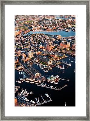 Aerial Morning View Of Harbor Framed Print