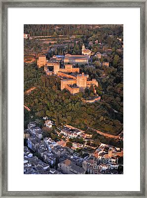 Aerial Photo  Alhambra And Albaycin In Granada Framed Print