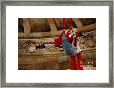 Aerial Ribbon Performer At Pennsylvanian Grand Rotunda Framed Print