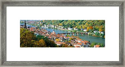 Aerial View Of A City At The Riverside Framed Print by Panoramic Images