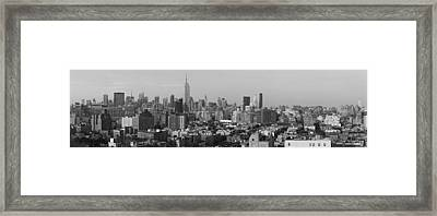 Aerial View Of A City, Manhattan, New Framed Print