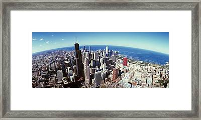 Aerial View Of A Cityscape With Lake Framed Print by Panoramic Images